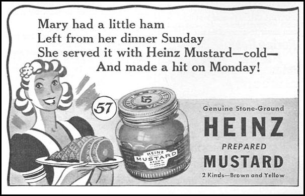 HEINZ PREPARED MUSTARD WOMAN'S DAY 04/01/1943 p. 67