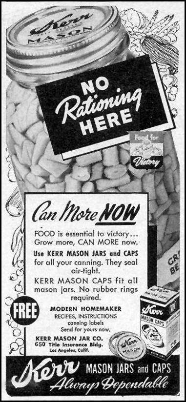 KERR MASON JARS WOMAN'S DAY 06/01/1943 p. 58