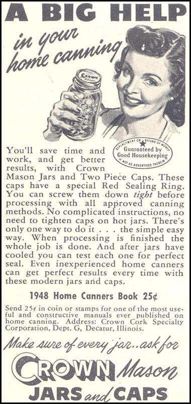 CROWN MASON JARS AND CAPS GOOD HOUSEKEEPING 07/01/1948 p. 230