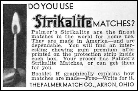 STRIKALITE MATCHES GOOD HOUSEKEEPING 04/01/1936 p. 243