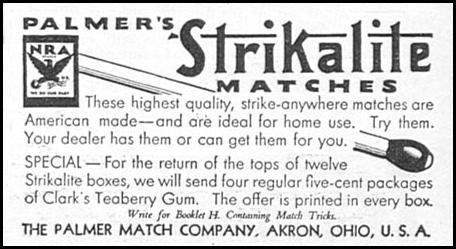 STRIKALITE MATCHES GOOD HOUSEKEEPING 12/01/1933 p. 184