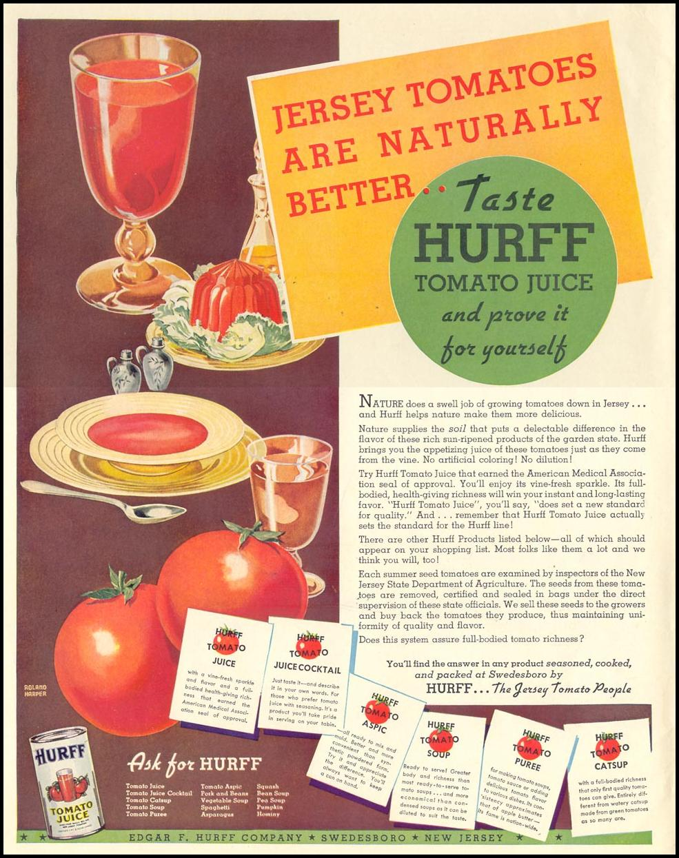 HURFF TOMATO PRODUCTS LIFE 08/09/1937 INSIDE FRONT