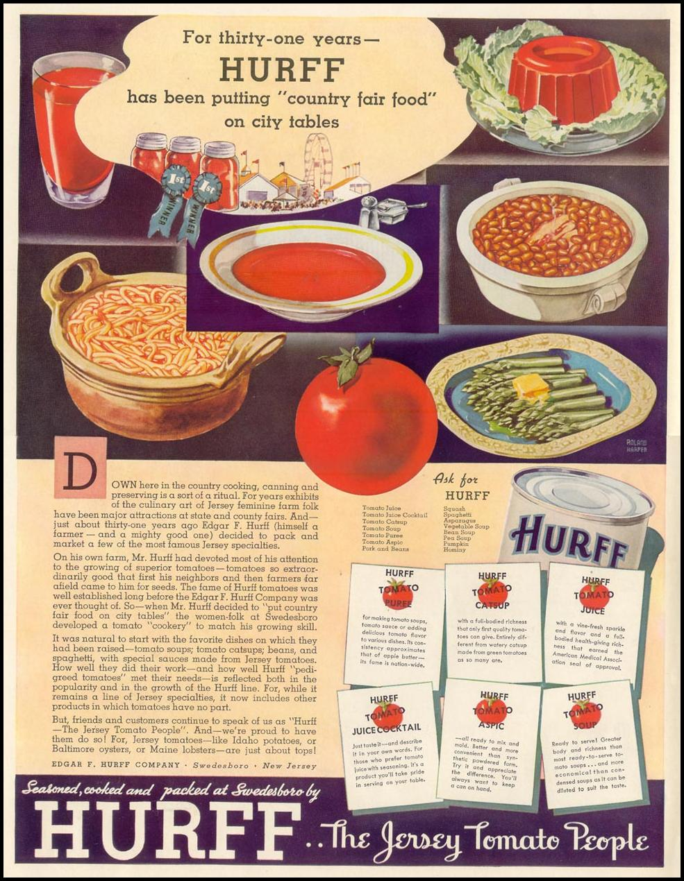 HURFF TOMATO PRODUCTS LIFE 10/04/1937 INSIDE FRONT