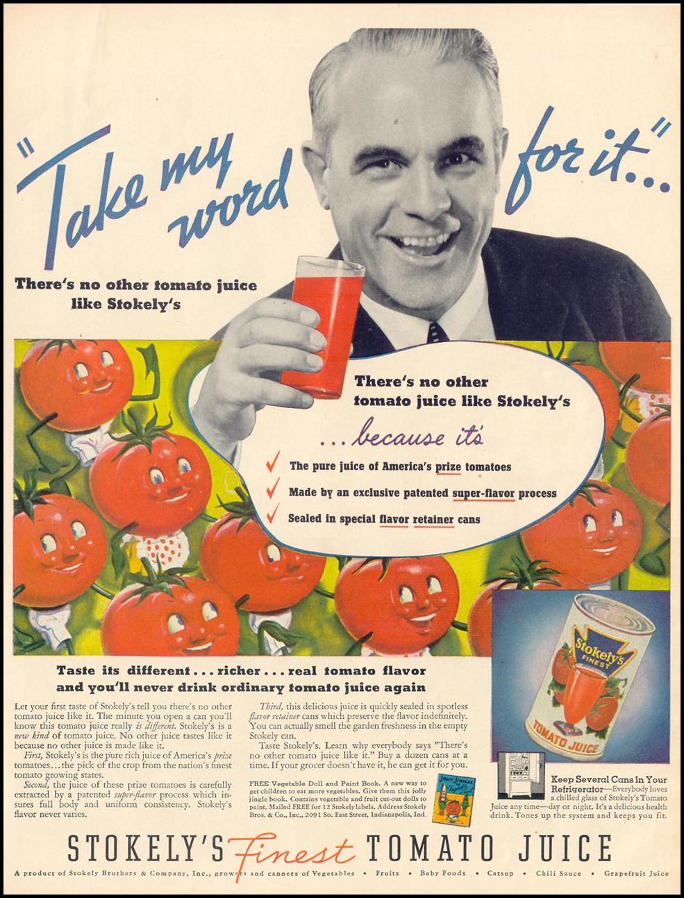 STOKELY'S TOMATO JUICE LIFE 10/04/1937