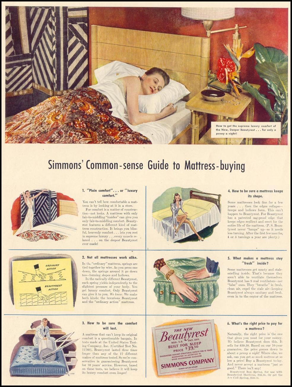 SIMMONS BEAUTYREST MATTRESS LIFE 09/30/1940