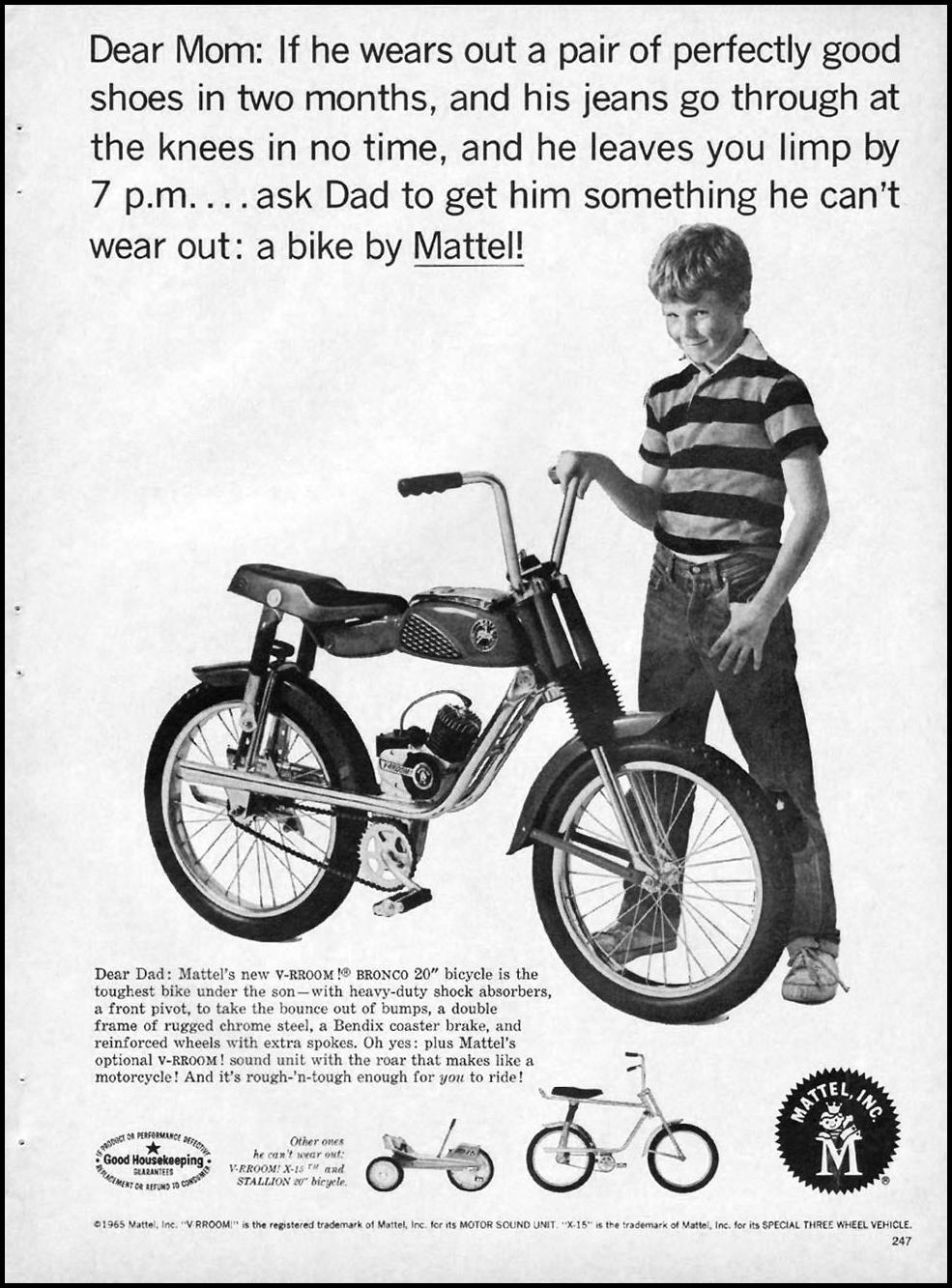 MATTEL V-RROOM! BRONCO BICYCLE GOOD HOUSEKEEPING 10/01/1965 p. 247
