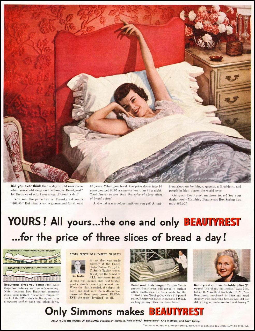 SIMMONS BEAUTYREST MATTRESS LADIES' HOME JOURNAL 11/01/1950 p. 195