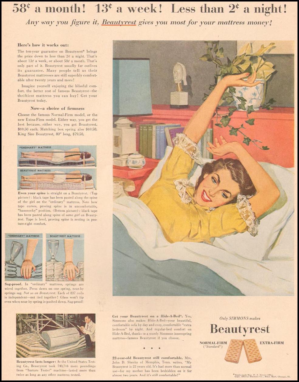 SIMMONS BEAUTYREST MATTRESS LIFE 10/13/1952 p. 120