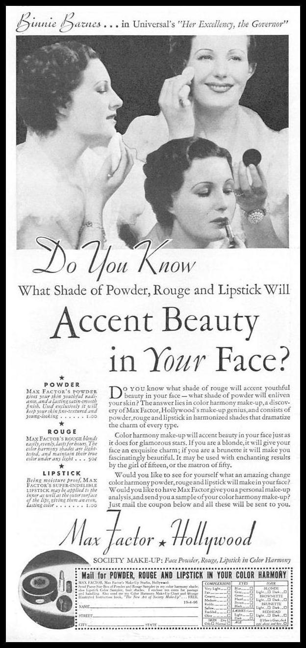 MAX FACTOR COSMETICS GOOD HOUSEKEEPING 04/01/1936 p. 168