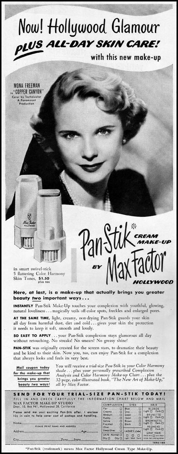 MAX FACTOR PAN-STICK CREAM MAKE-UP LADIES' HOME JOURNAL 11/01/1950 p. 162