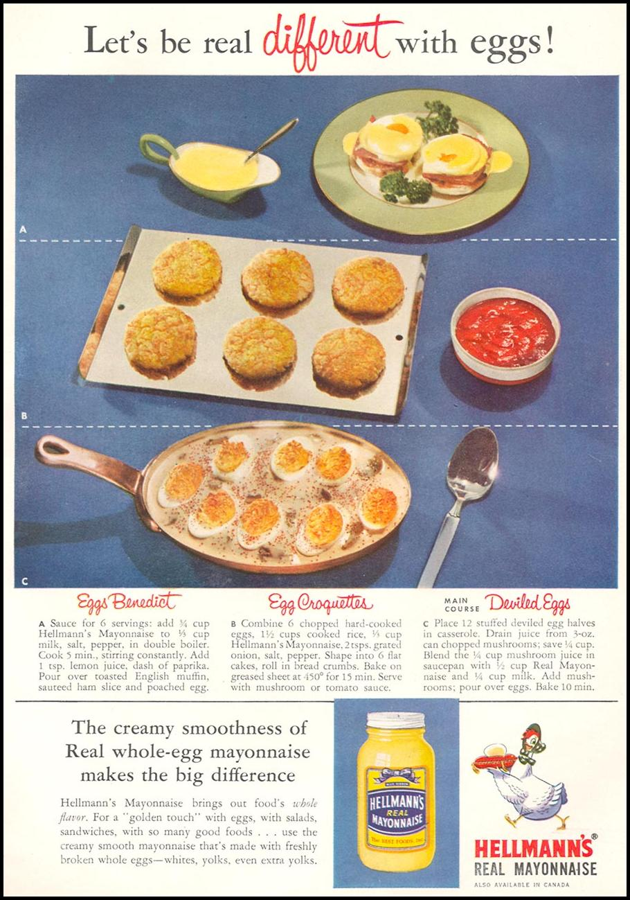 HELLMANN'S REAL MAYONNAISE WOMAN'S DAY 04/01/1956