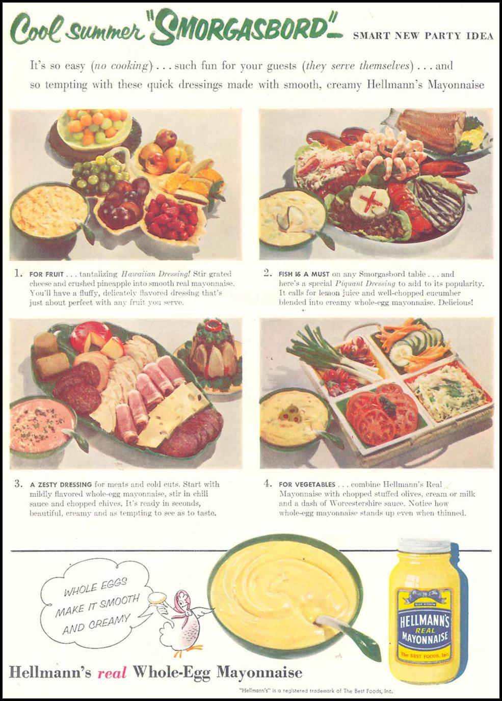 HELLMANN'S REAL MAYONNAISE WOMAN'S DAY 07/01/1955 p. 95