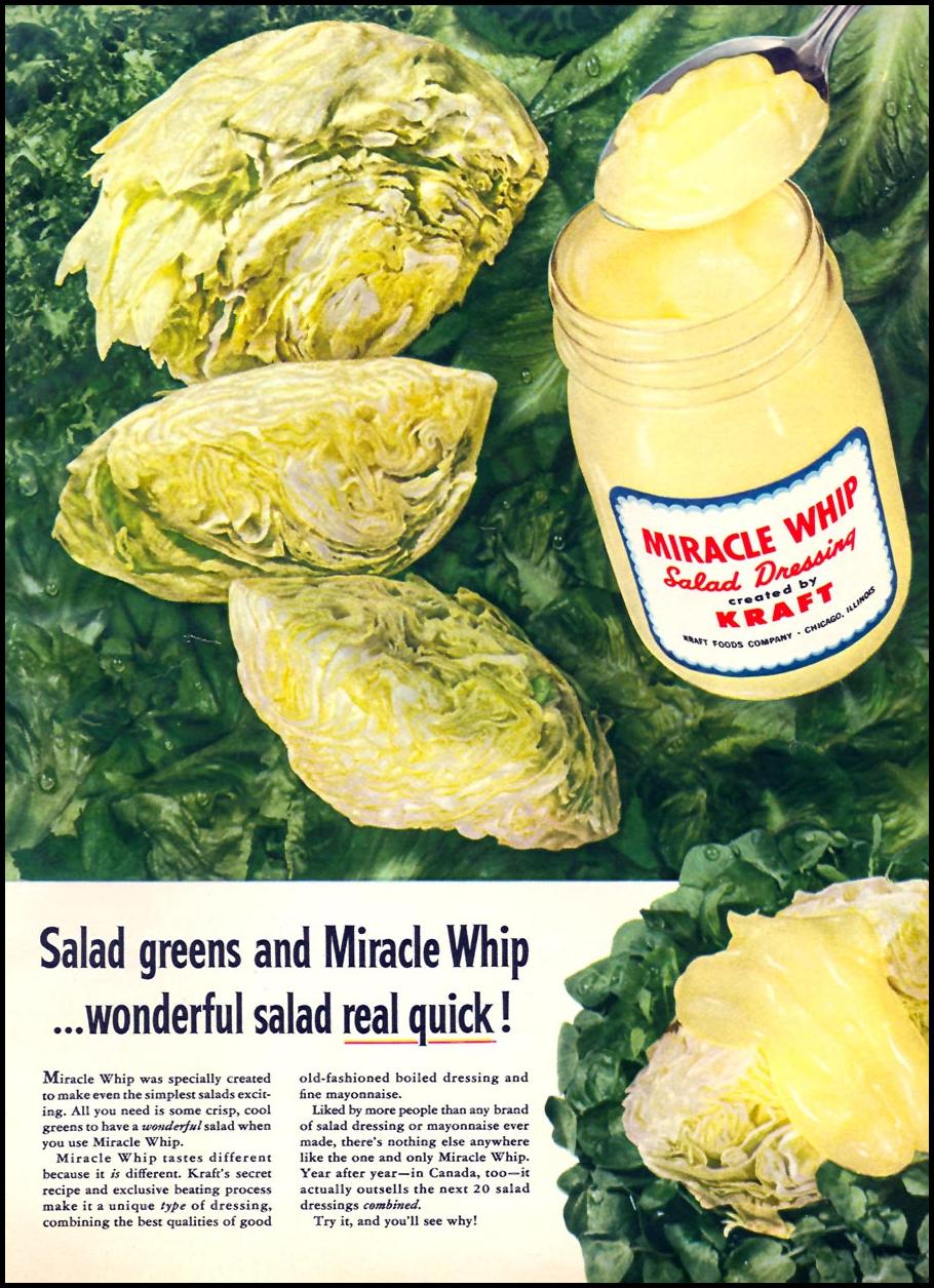 MIRACLE WHIP SALAD DRESSING WOMAN'S DAY 10/01/1956 p. 83