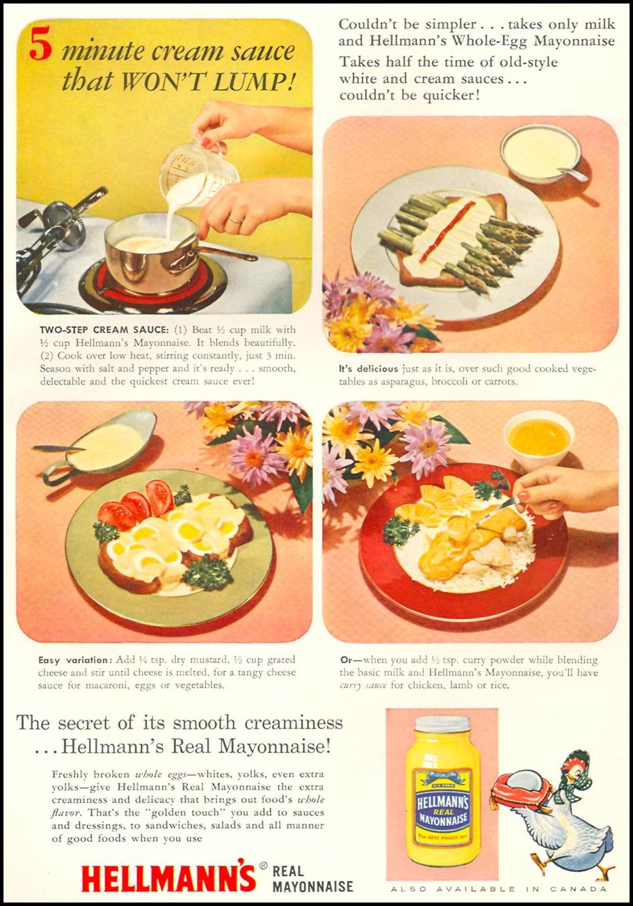 HELLMANN'S REAL MAYONNAISE WOMAN'S DAY 10/01/1956