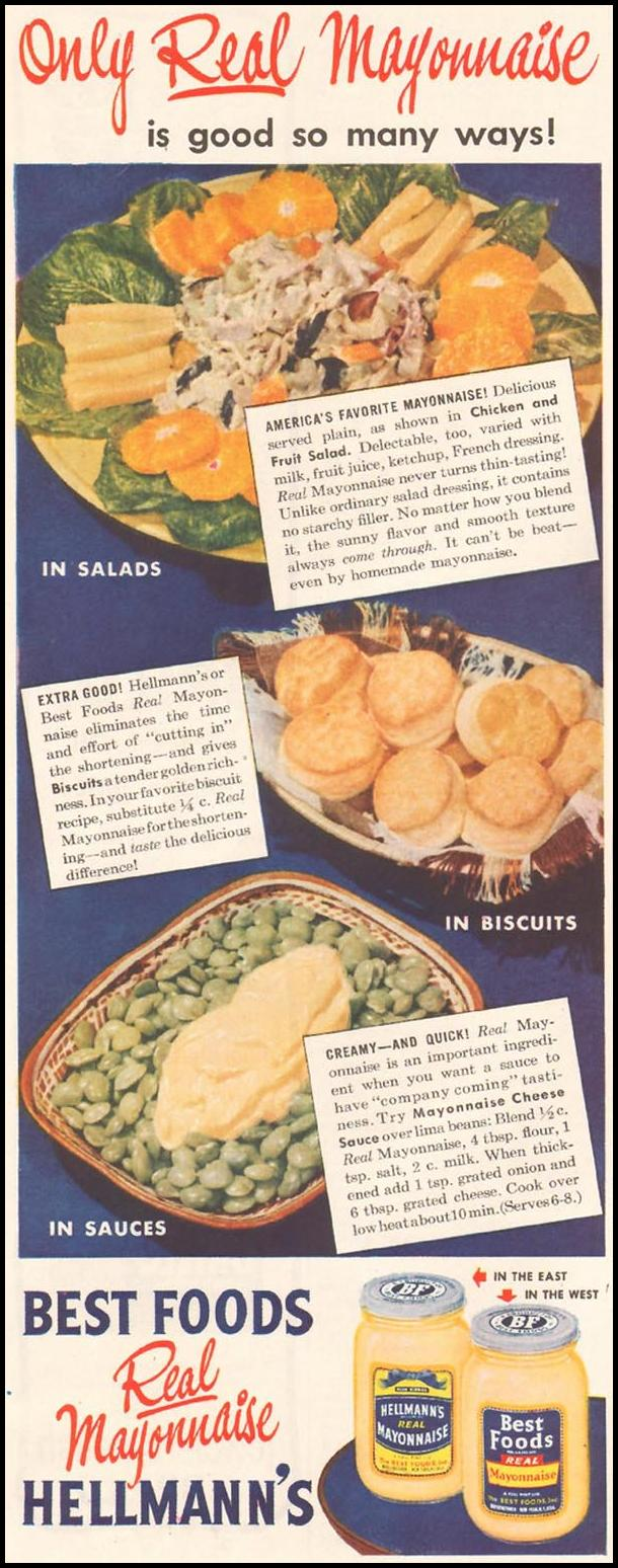 HELLMANN'S REAL MAYONNAISE LADIES' HOME JOURNAL 11/01/1950 p. 240