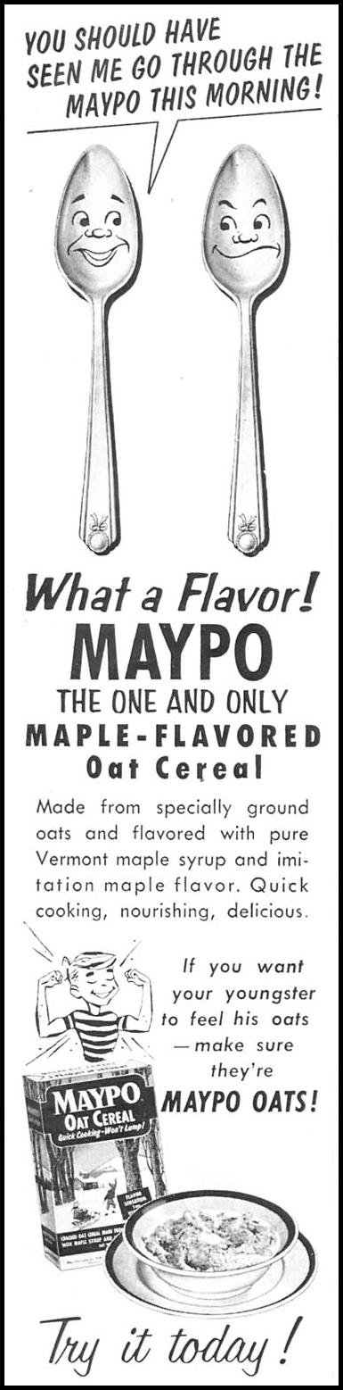 MAYPO MAPLE-FLAVORED OAT CEREAL WOMAN'S DAY 12/01/1954 p. 132