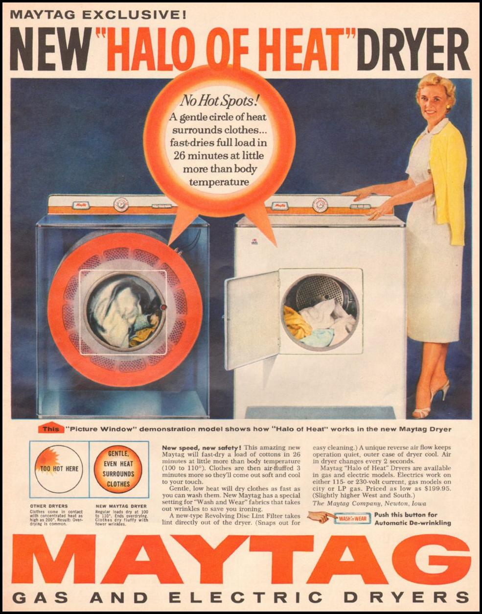 MAYTAG GAS AND ELECTRIC DRYERS LOOK 10/29/1957 p. 91