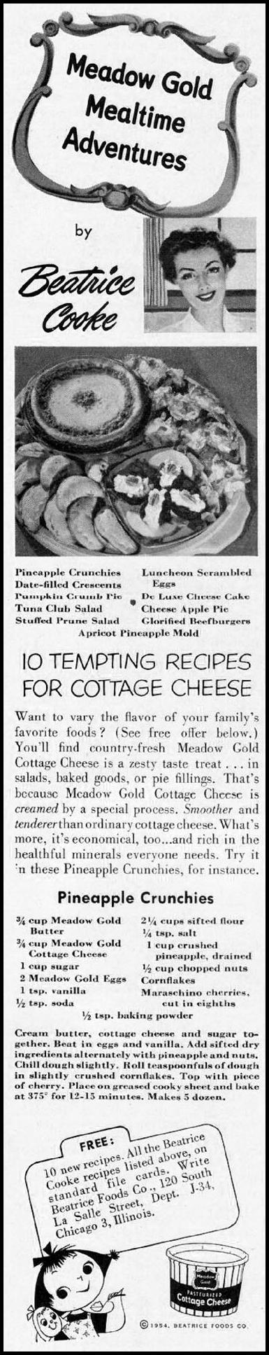 MEADOW GOLD COTTAGE CHEESE LADIES' HOME JOURNAL 03/01/1954 p. 167