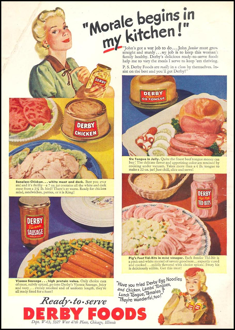 READY-TO-SERVE DERBY FOODS WOMAN'S DAY 06/01/1943 INSIDE FRONT