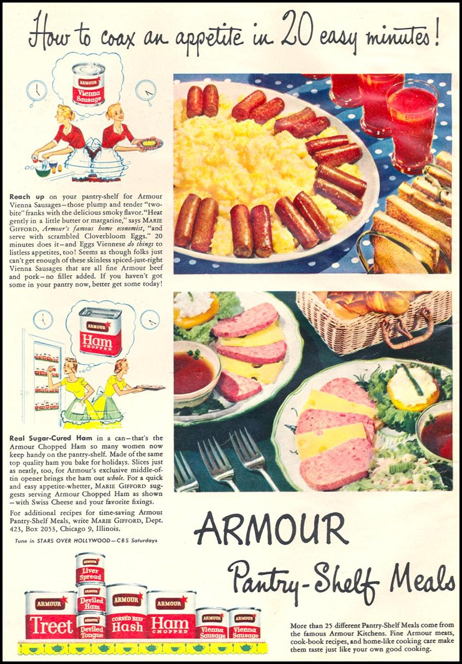 ARMOUR'S CANNED MEATS WOMAN'S DAY 06/01/1950 p. 16