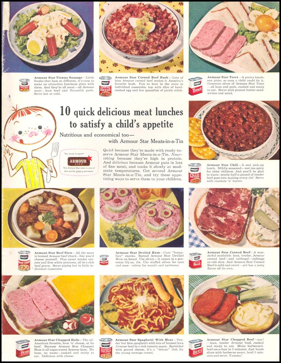 ARMOUR STAR CANNED MEATS WOMAN'S DAY 09/01/1955 INSIDE BACK