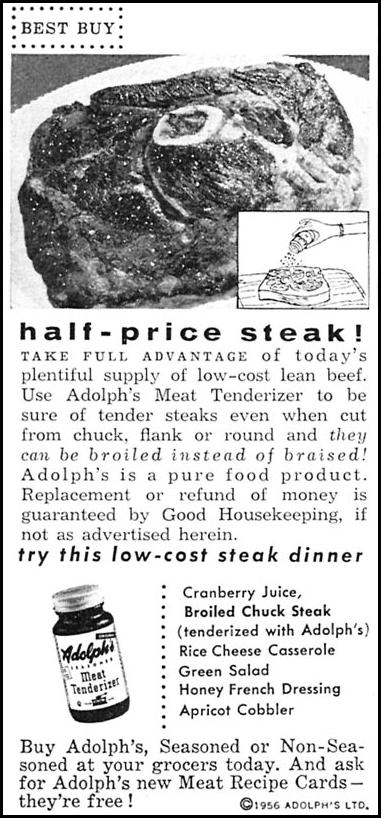 ADOLPH'S MEAT TENDERIZER WOMAN'S DAY 10/01/1956 p. 134