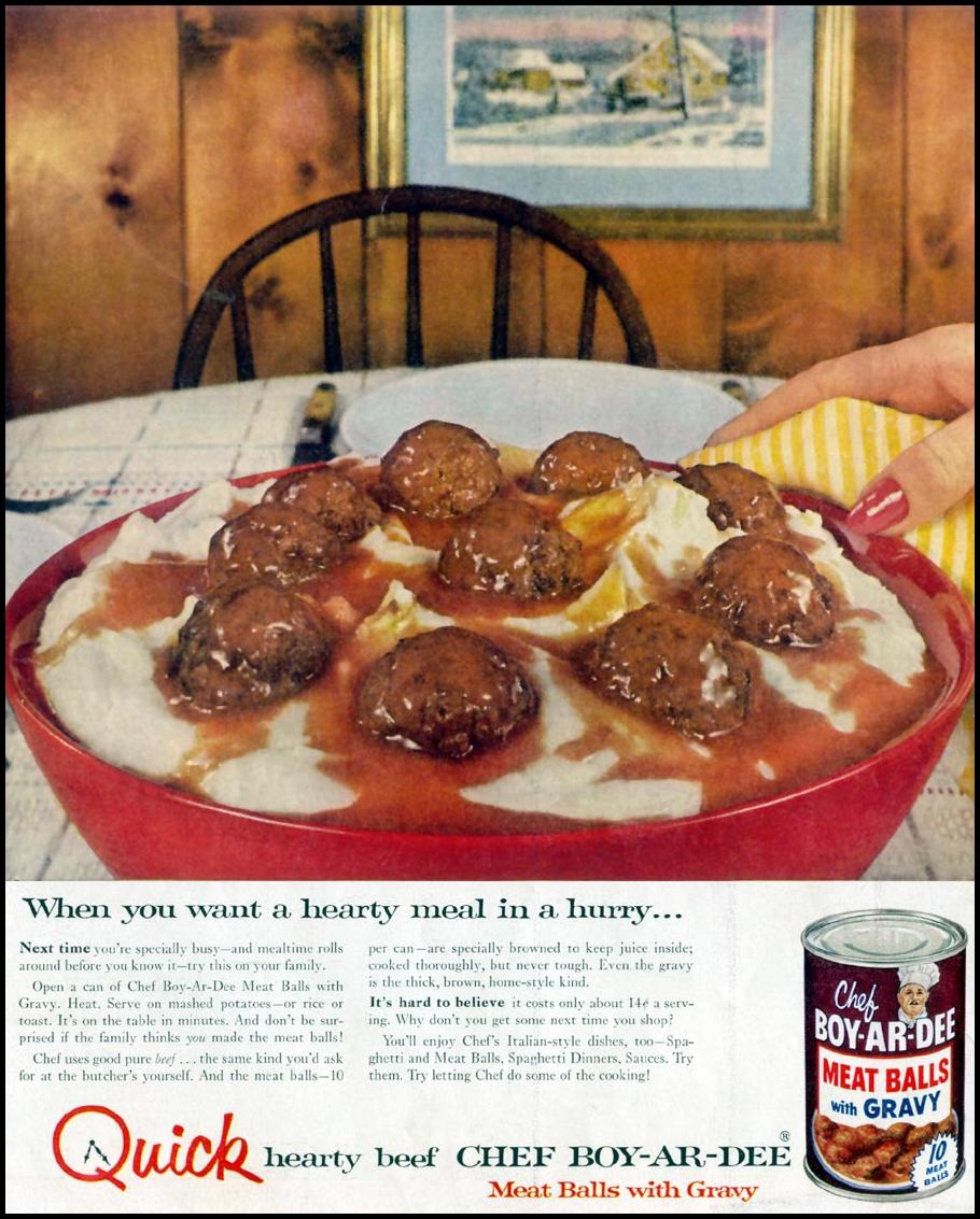 CHEF BOY-AR-DEE MEAT BALLS WITH GRAVY LIFE 11/14/1955 INSIDE FRONT