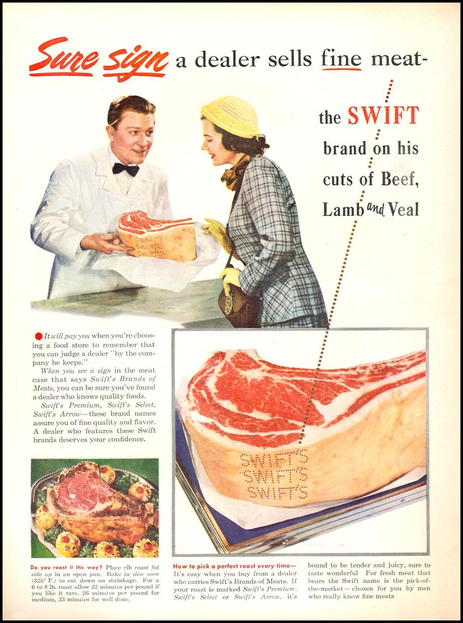 SWIFT BEEF, LAMB AND VEAL NEWSWEEK 06/11/1951 p. 32