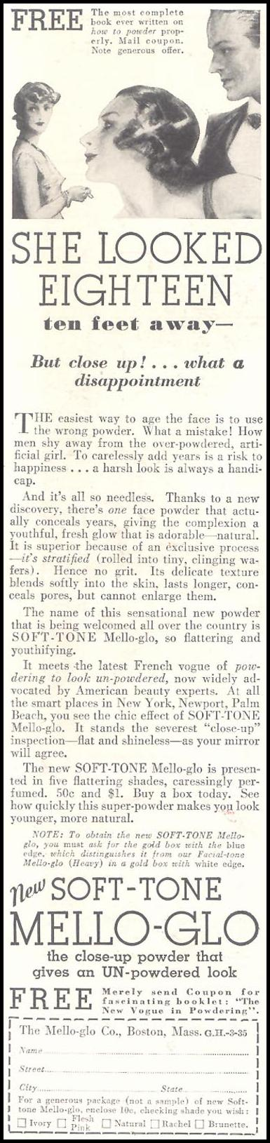 MELLO-GLO GOOD HOUSEKEEPING 03/01/1935 p. 188