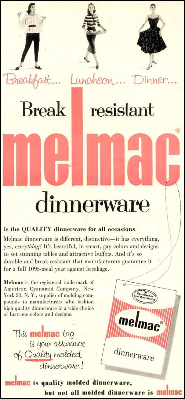 MELMAC DINNERWARE WOMAN'S DAY 11/01/1955 p. 9