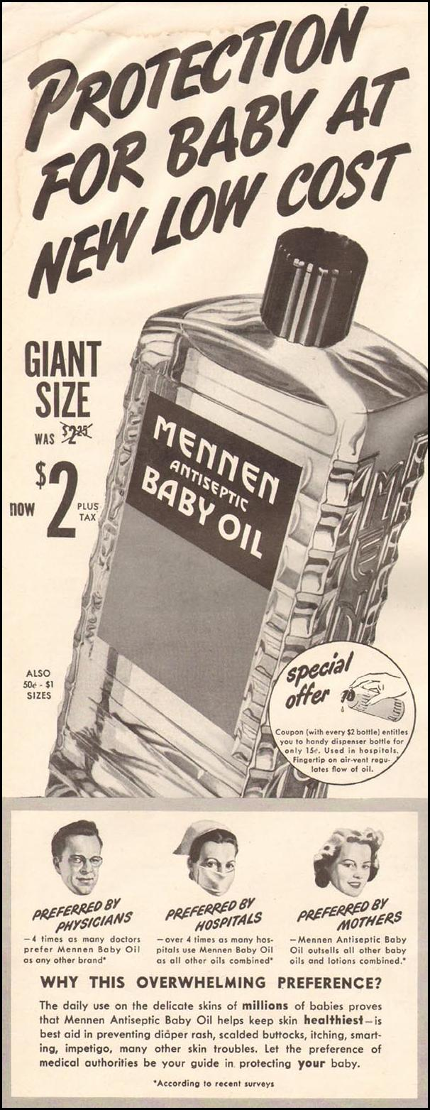 MENNEN ANTISEPTIC BABY OIL LIFE 10/23/1944 p. 4