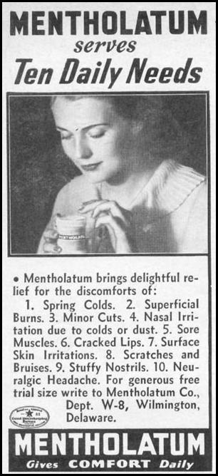 MENTHOLATUM WOMAN'S DAY 06/01/1941 p. 68