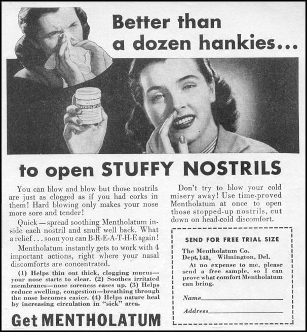 MENTHOLATUM NASAL DECONGESTANT WOMAN'S DAY 11/01/1945 p. 119