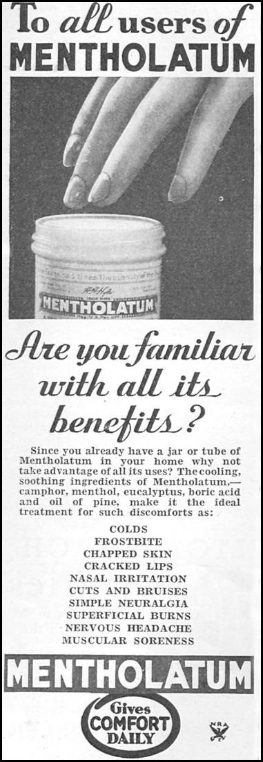 METHOLATUM GOOD HOUSEKEEPING 12/01/1933 p. 180
