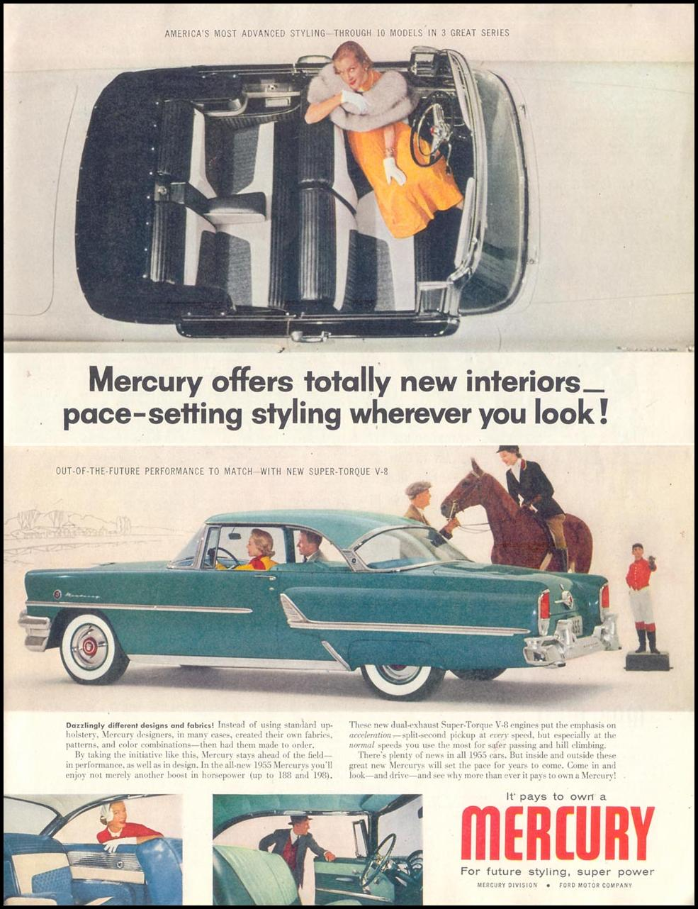 MERCURY AUTOMOBILES SATURDAY EVENING POST 02/05/1955 p. 51