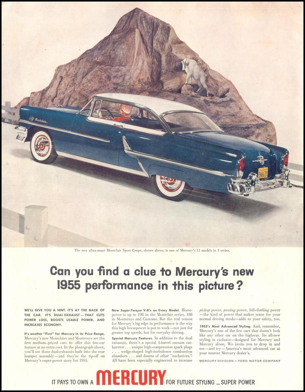 MERCURY AUTOMOBILES SATURDAY EVENING POST 04/09/1955 INSIDE FRONT