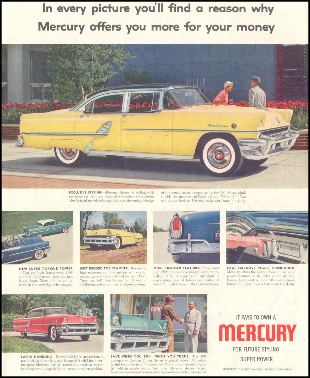MERCURY AUTOMOBILES SATURDAY EVENING POST 07/23/1955 p. 47