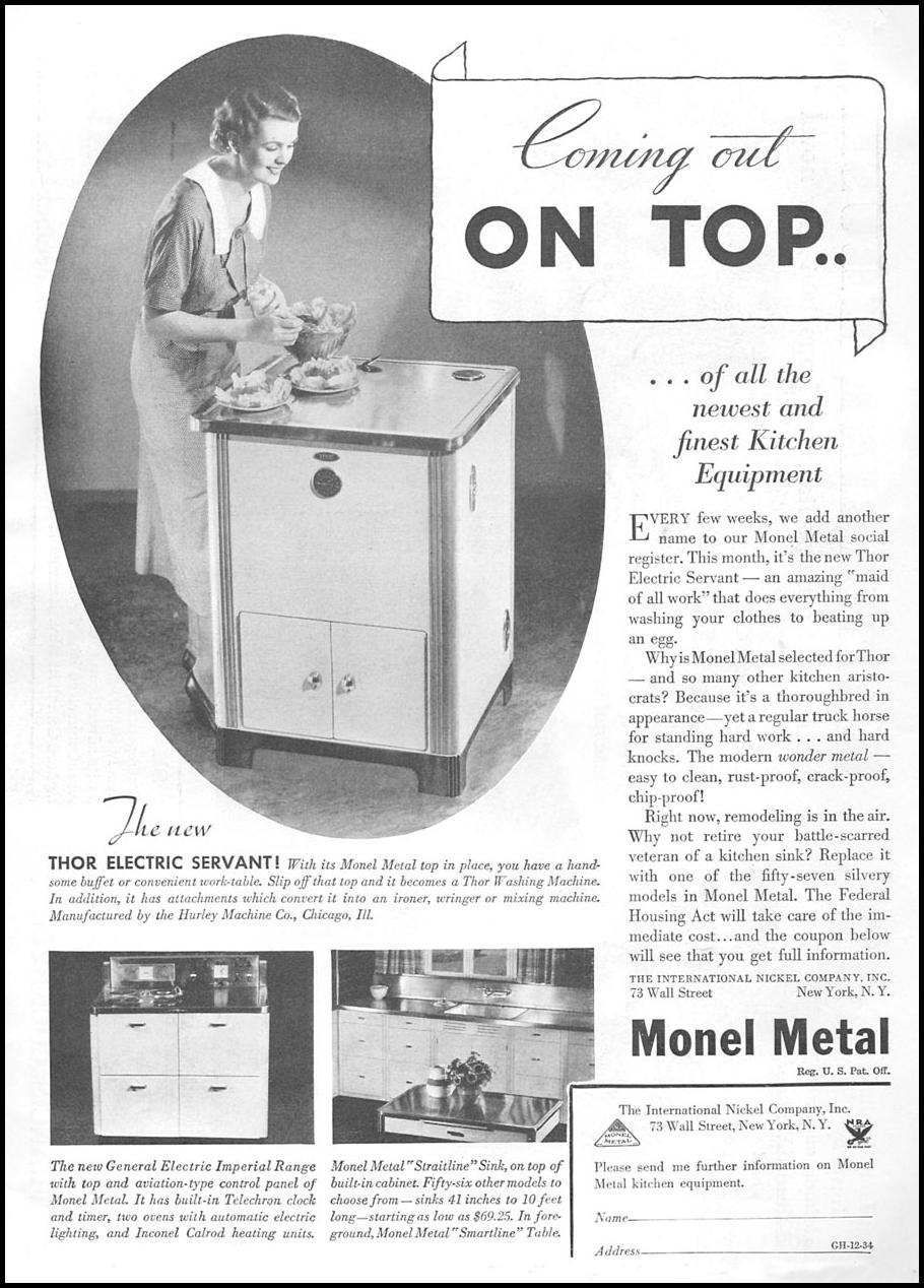 MONEL METAL GOOD HOUSEKEEPING 12/01/1934 p. 9