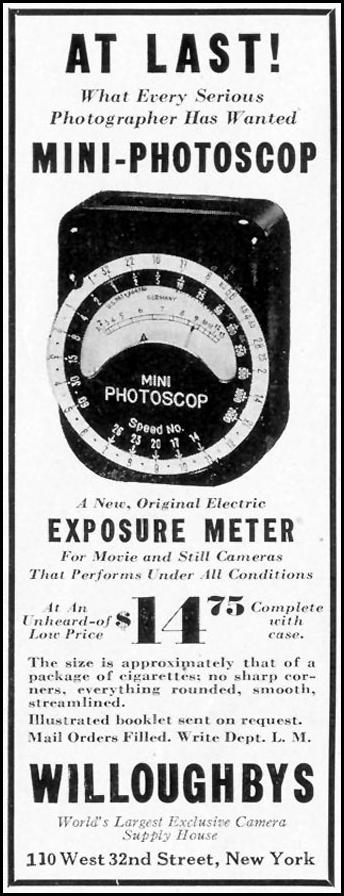 MINI-PHOTSCOP EXPOSURE METER LIFE 09/06/1937 p. 78