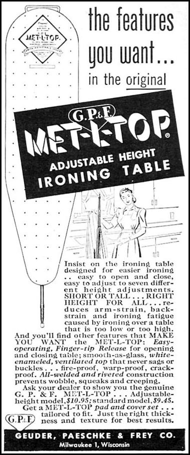 MET-L-TOP IRONING TABLE WOMAN'S DAY 04/01/1949 p. 129