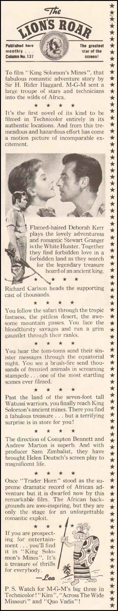 KING SOLOMON'S MINES LADIES' HOME JOURNAL 11/01/1950 p. 3
