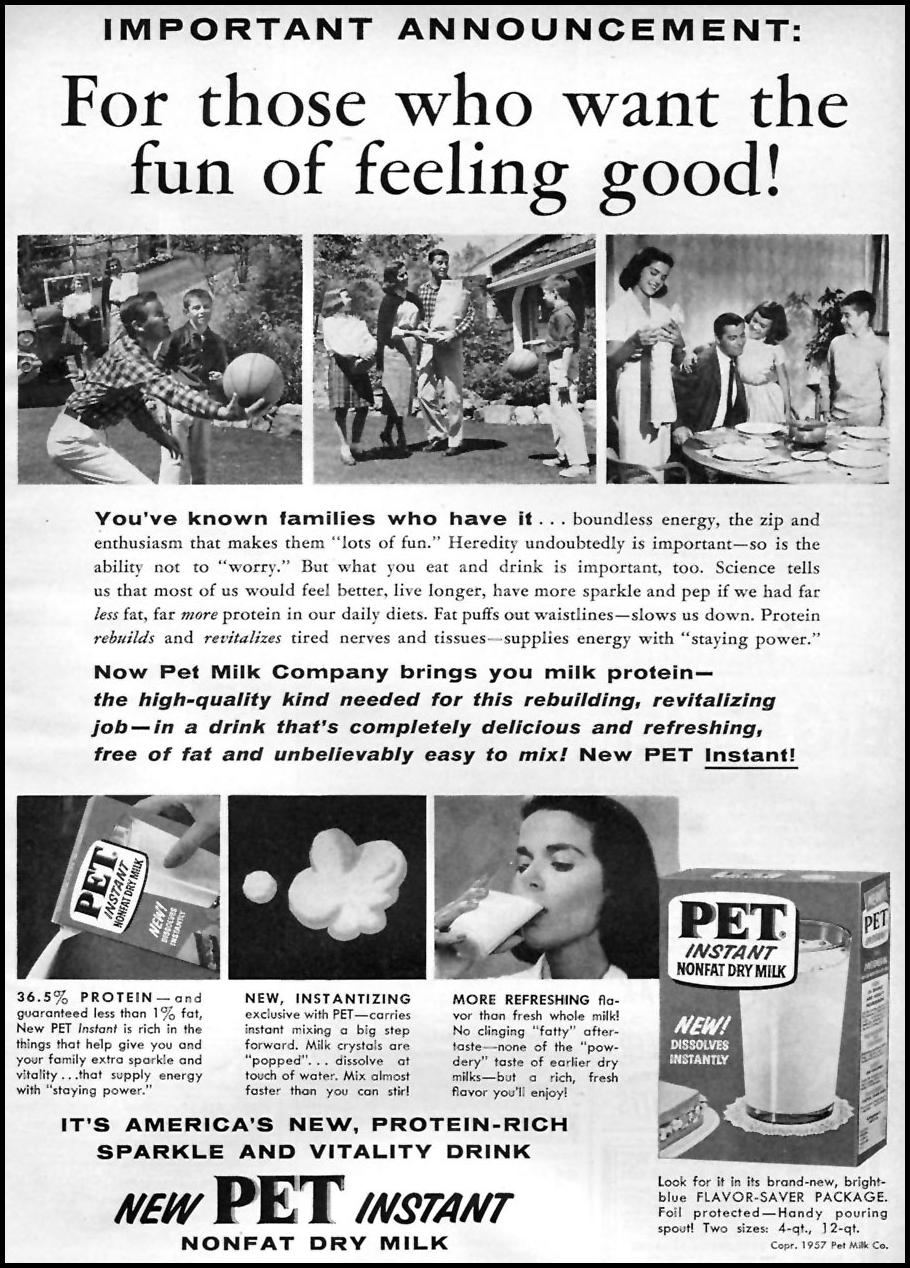 PET INSTANT NONFAT DRY MILK FAMILY CIRCLE 11/01/1957 p. 85