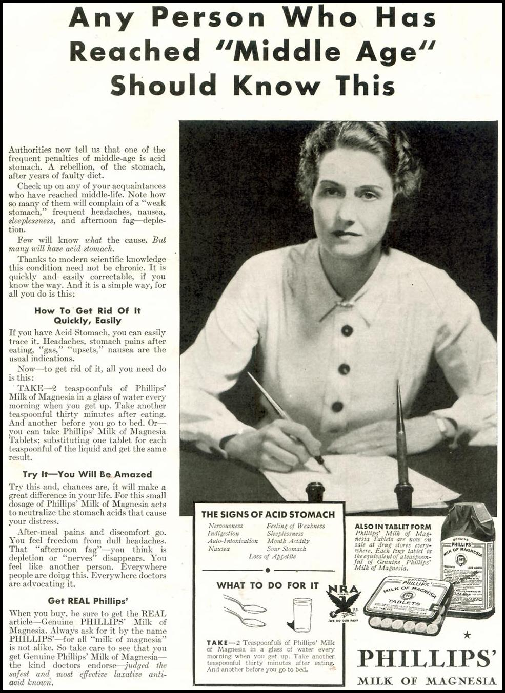 PHILLIPS' MILK OF MAGNESIA GOOD HOUSEKEEPING 11/01/1933 p. 235