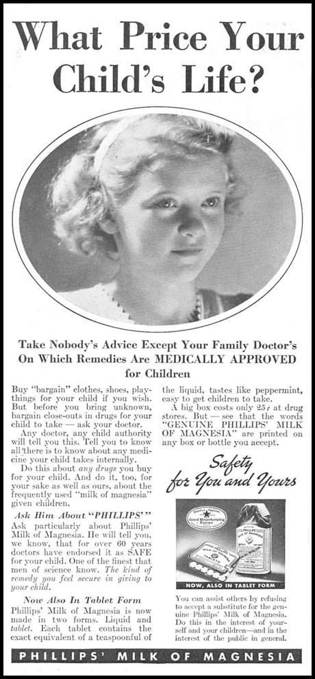 PHILLIPS' MILK OF MAGNESIA GOOD HOUSEKEEPING 04/01/1936 p. 146