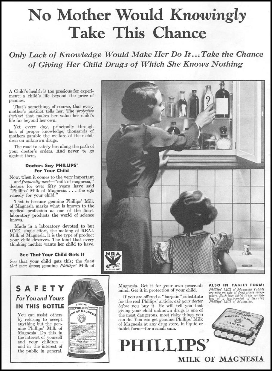PHILLIPS' MILK OF MAGNESIA GOOD HOUSEKEEPING 12/01/1933 p. 210