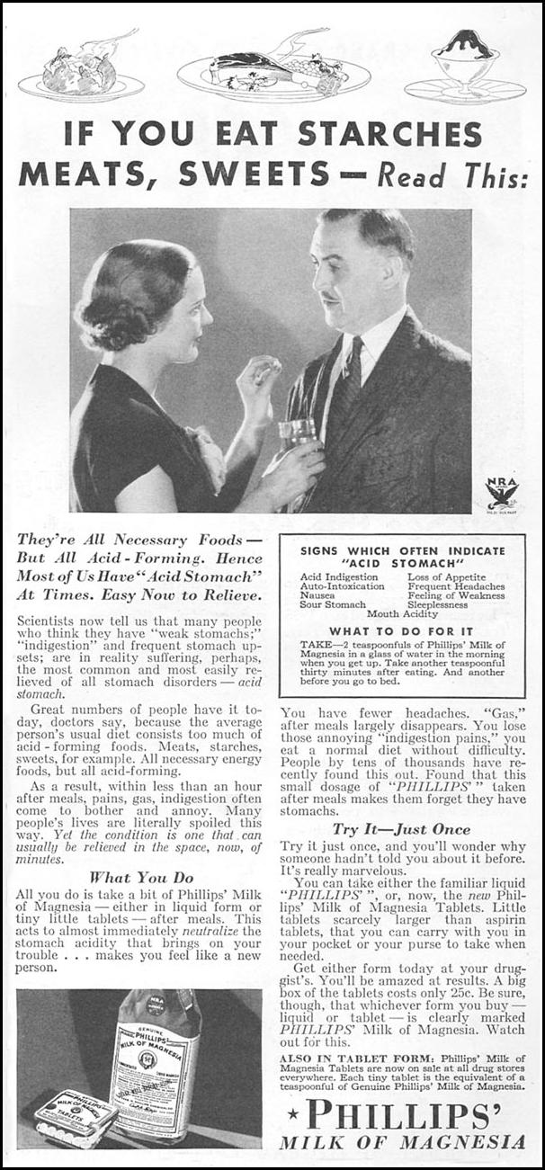 PHILLIPS' MILK OF MAGNESIA GOOD HOUSEKEEPING 12/01/1934 p. 181