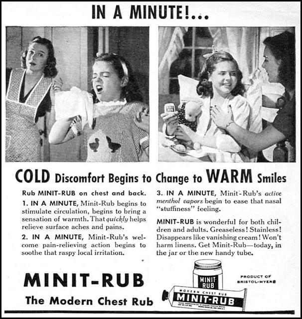 MINIT-RUB CHEST RUB WOMAN'S DAY 11/01/1946 p. 99