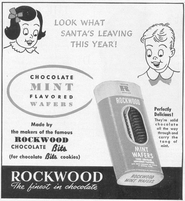 ROCKWOOD CHOCOLATE MINT WAFERS WOMAN'S DAY 12/01/1948 p. 105