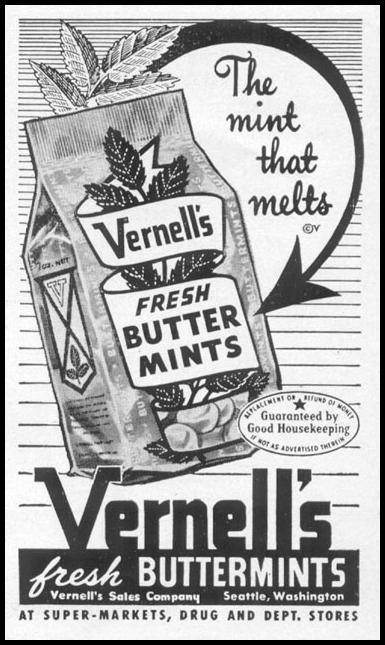 VERNELL'S FRESH BUTTER MINTS LIFE 10/13/1952 p. 22