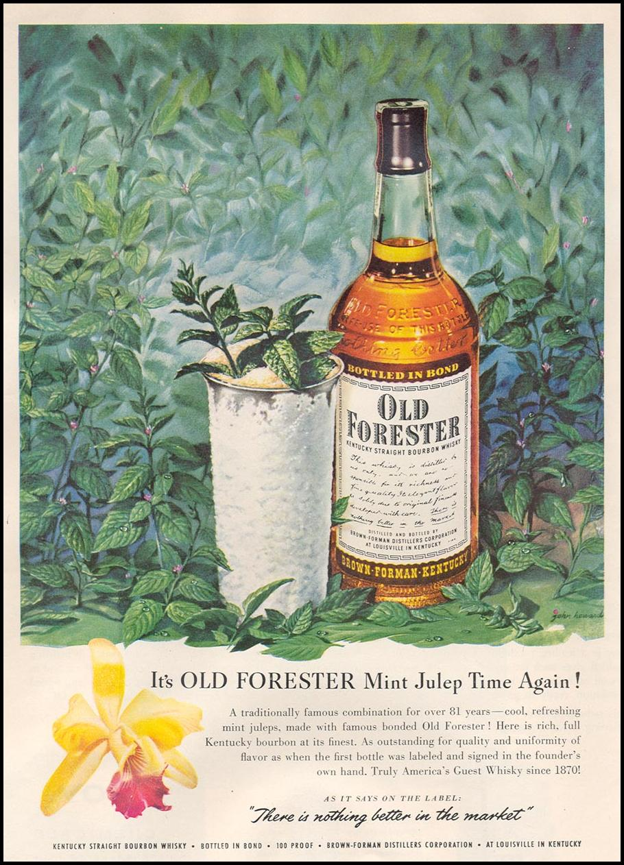 OLD FORESTER KENTUCKY STRAIGHT BOURBON WHISKEY NEWSWEEK 08/20/1951 p. 57